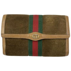 Gucci Vintage Brown Suede Flap Cosmetic Bag Clutch with Stripes