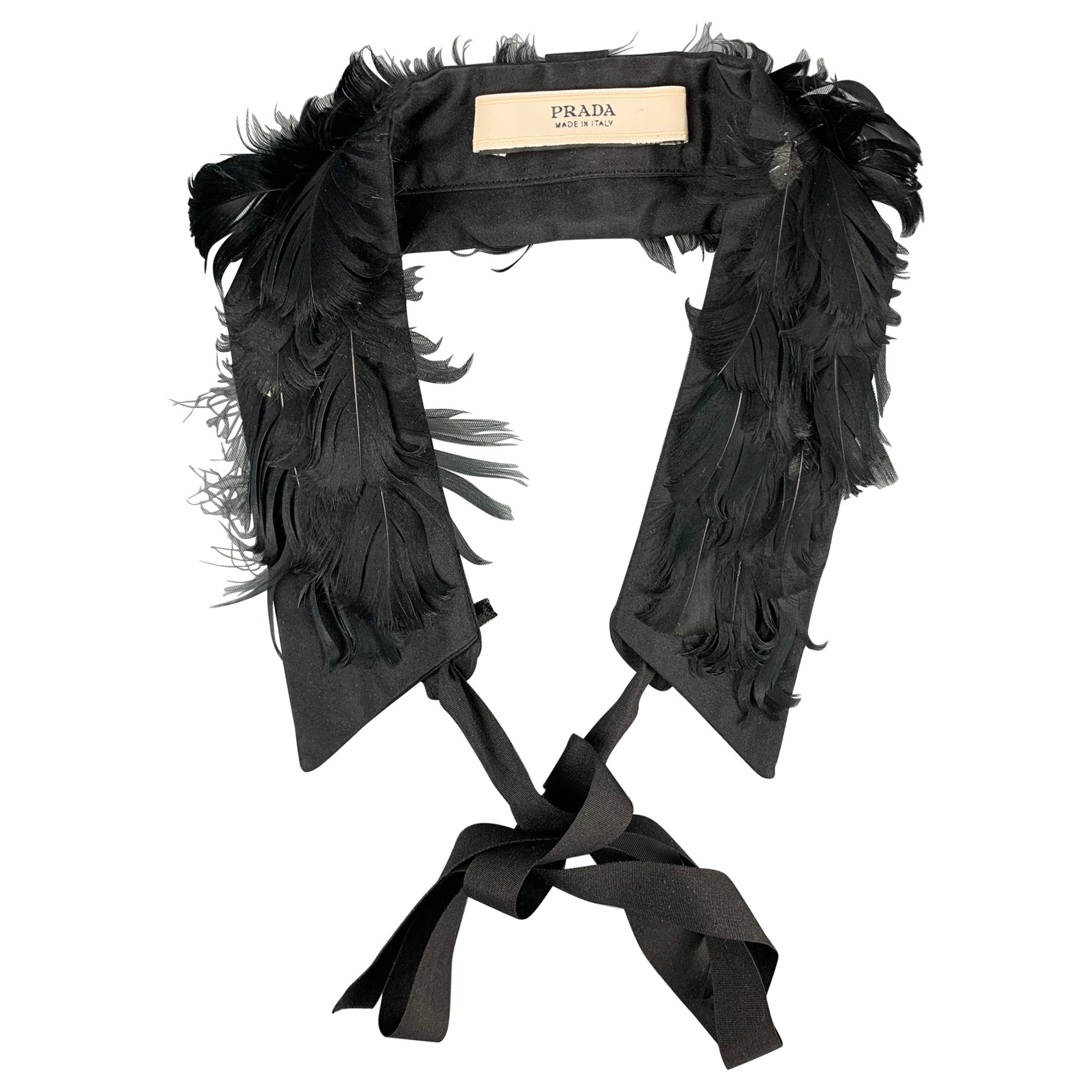 PRADA Black Fabric Feathers Tie Up Collar