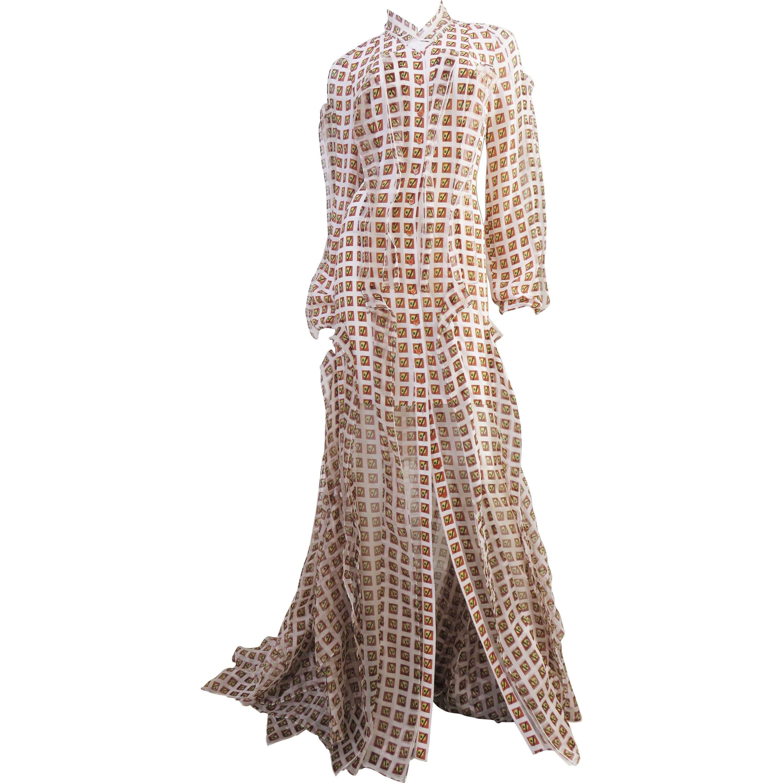 Carolina Herrera New Geometric Pattern Silk Maxi Dress