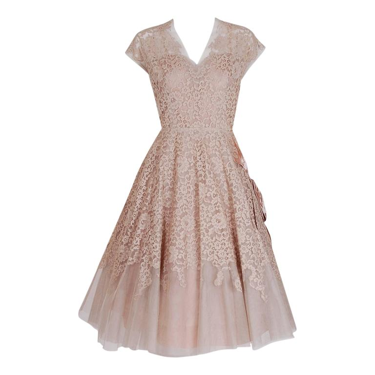 1950's Pierre Balmain Mauve-Pink Lace Tulle Illusion Side-Bow Full Party Dress 1