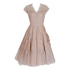 1950's Pierre Balmain Mauve-Pink Lace Tulle Illusion Side-Bow Full Party Dress