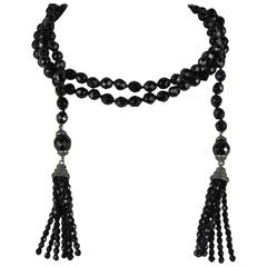 Flapper French Black Jet Glass beads lariat SAUTOIR Necklace