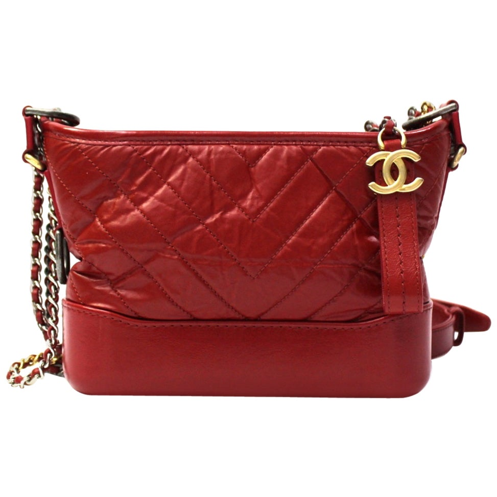 2019 Chanel Red Leather Gabrielle Bag