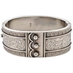 English Victorian Sterling Silver Belt Engraved Bangle Bracelet