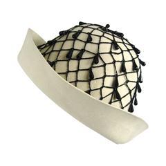 Rare YSL 1960s \ Yves Saint Laurent Beaded Cloche Hat