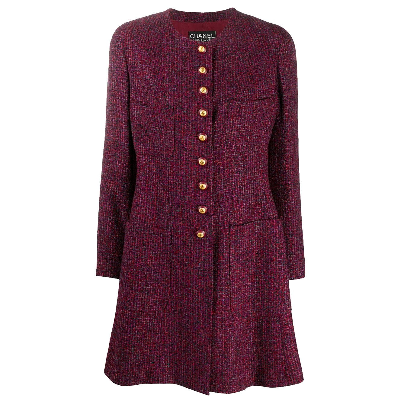 1993s Chanel Bordeaux Tweed Boucle Wool Coat Jacket