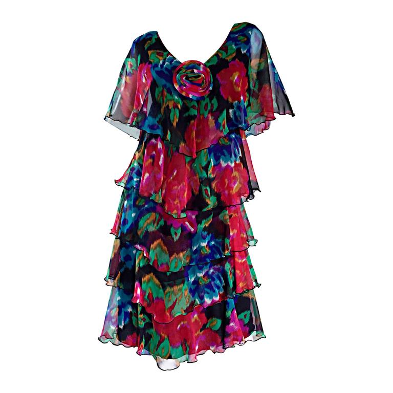 Beautiful Vintage Holly's Harp Floral Boho Chiffon Tiered Bohemian Dress