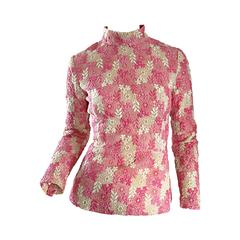 1960s Mignon Beautiful Vintage Pink + Ivory Hand Crochet Blouse / 60s Top