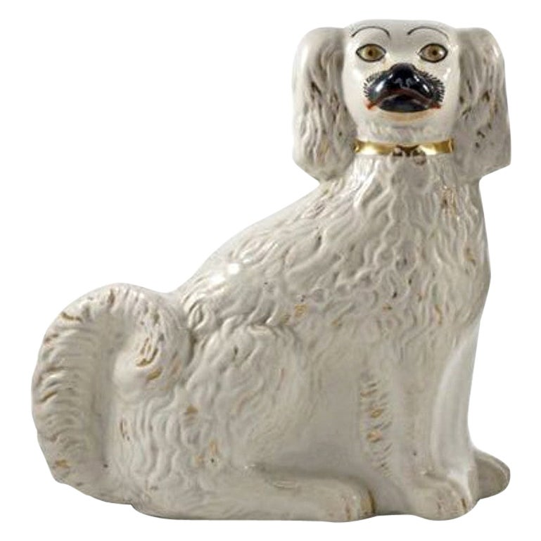 Antique Victorian Staffordshire Hand Painted Pottery Dog Figurine