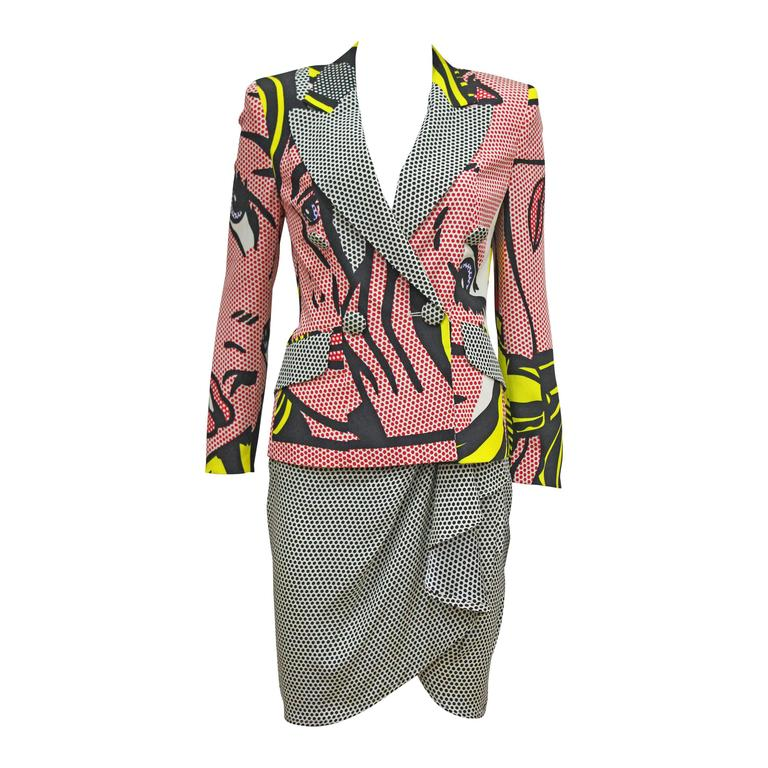 Moschino skirt suit with Roy Lichtenstein 'M-Maybe' print, c. 1991