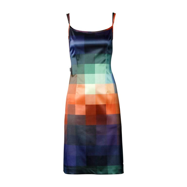 Moschino Vintage Graphic Rainbow Checkered Ombre Dress