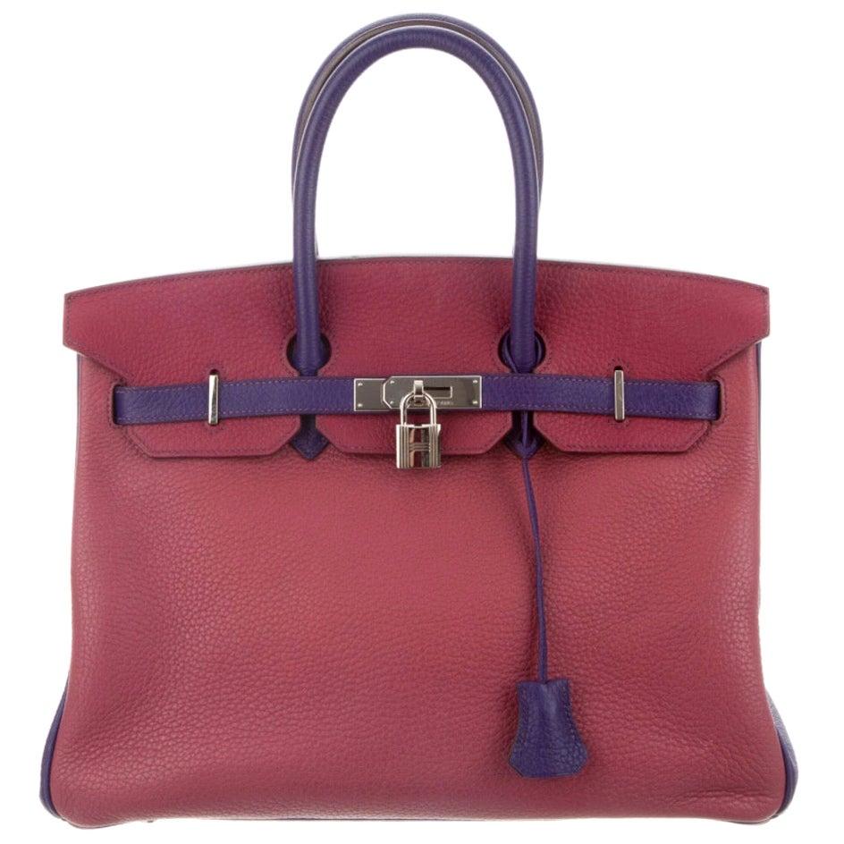 Hermes Birkin 35 Special Order Red Purple Pink  Leather Top Handle Tote Bag