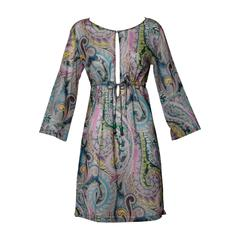 Etro Sheer Paisley Print Dress with Beaded Tie