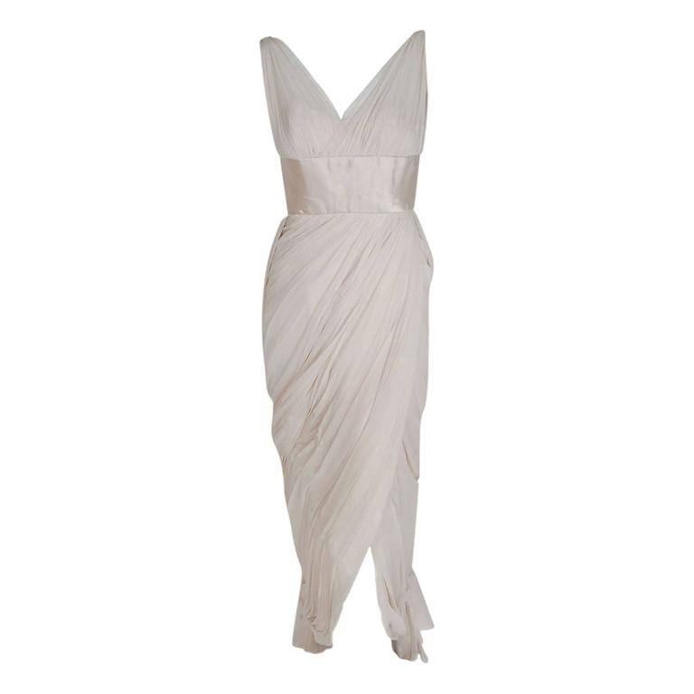 1950's Jean Desses Ivory-White Draped Silk Chiffon Back-Fishtail Goddess Dress 1