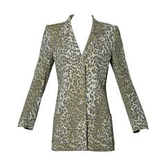 Emanuel Ungaro Vintage Leopard Print Wool Blazer Jacket