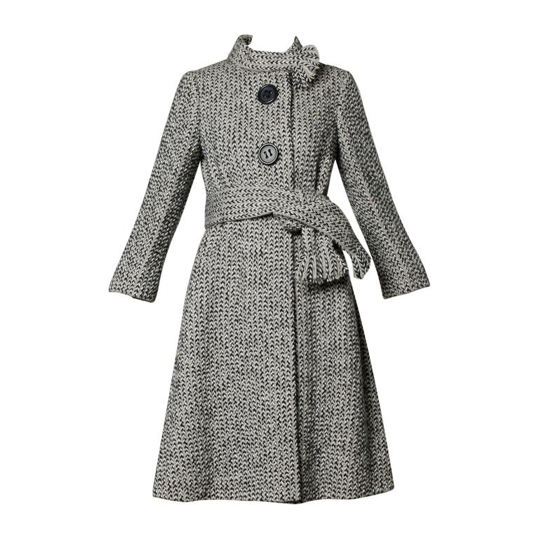 Incredible Pauline Trigere Vintage 1960s Herringbone Wool Coat with Ascot Scarf