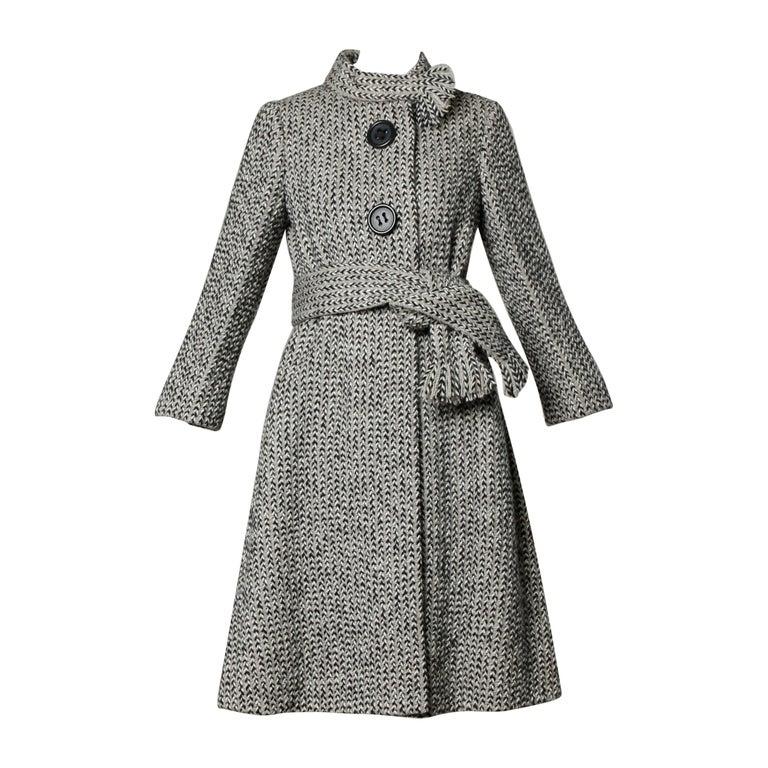 Pauline Trigere Vintage Herringbone Wool Coat with Ascot Scarf, 1960s