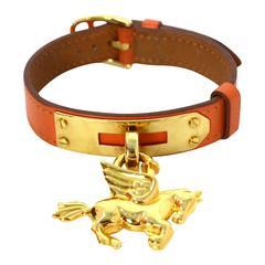 Hermes Vintage '99 Orange & Gold Pegasus Cadena Bracelet