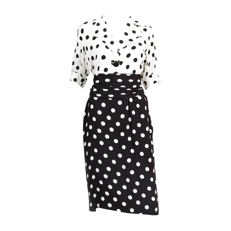 1986s Saint Laurent Dot Print Dress 1
