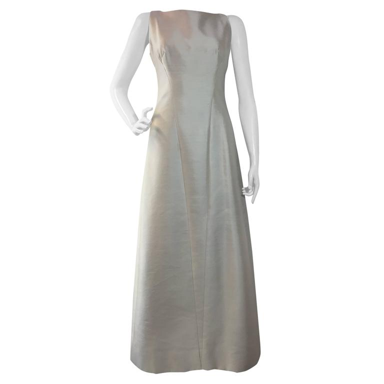 1960s Bob Bugnand Ivory Shantung Sculpted Evening Gown