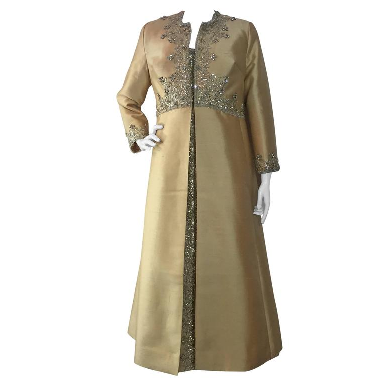 1960s Divine Champagne Shantung 2-Piece Evening Ensemble w/ Gorgeous Stoning