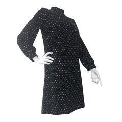 1960s Larry Aldrich Black Silk Crepe Mini Cocktail Dress Covered in Rhinestones