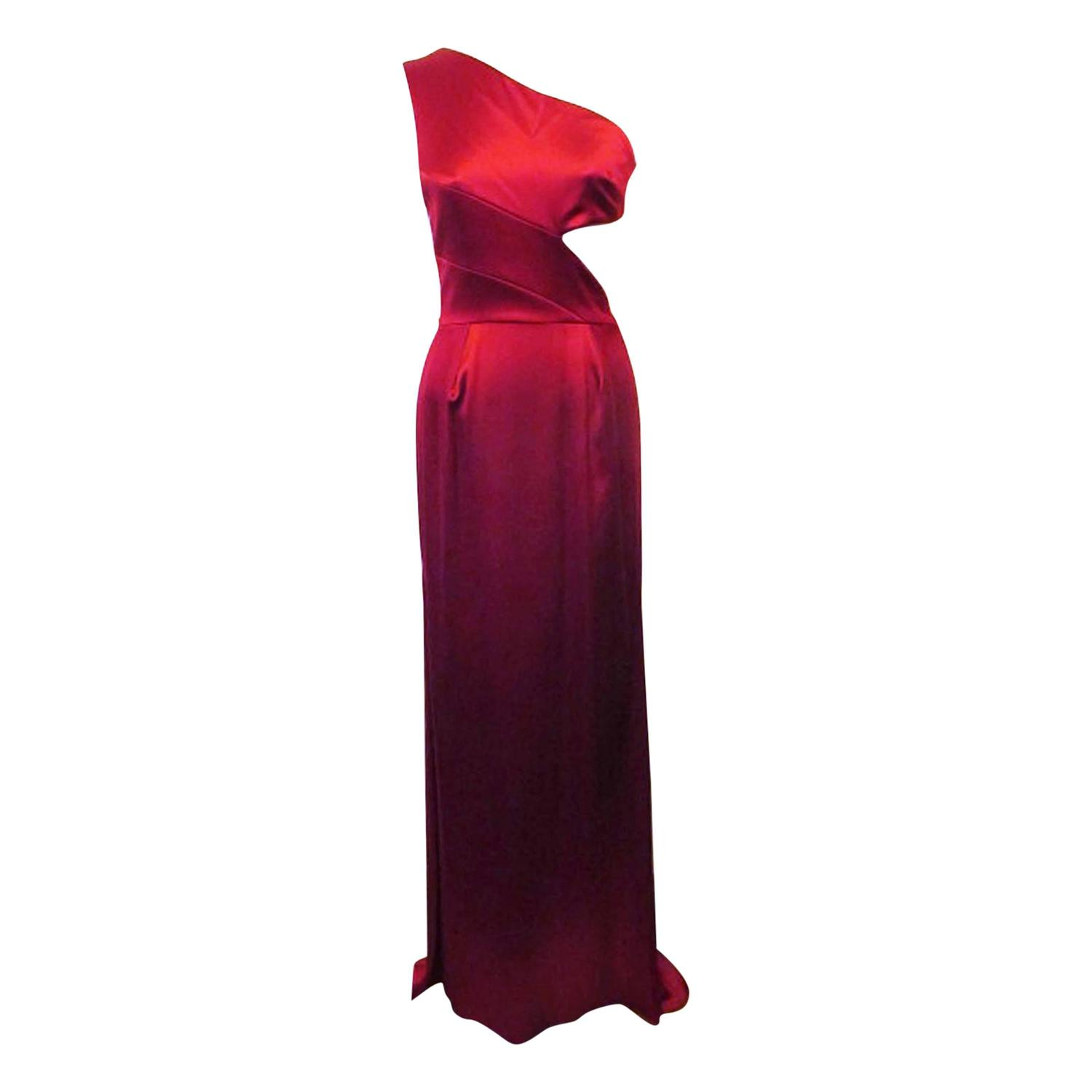 New Prabal Gurung Red Silk Satin One-Shoulder Evening Gown For Sale ...