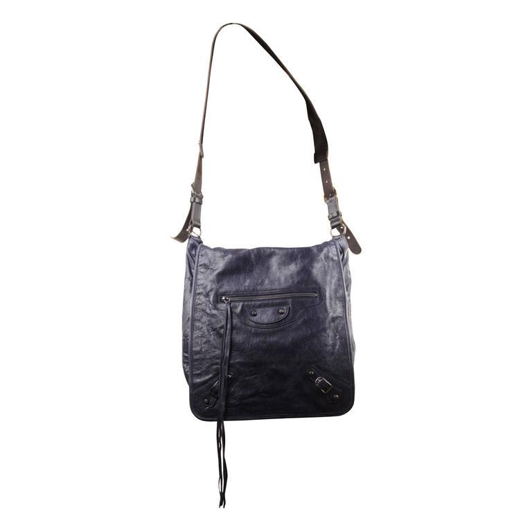 BALENCIAGA Blue DISTRESSED Leather BESACE MESSENGER LARGE Shoulder Bag