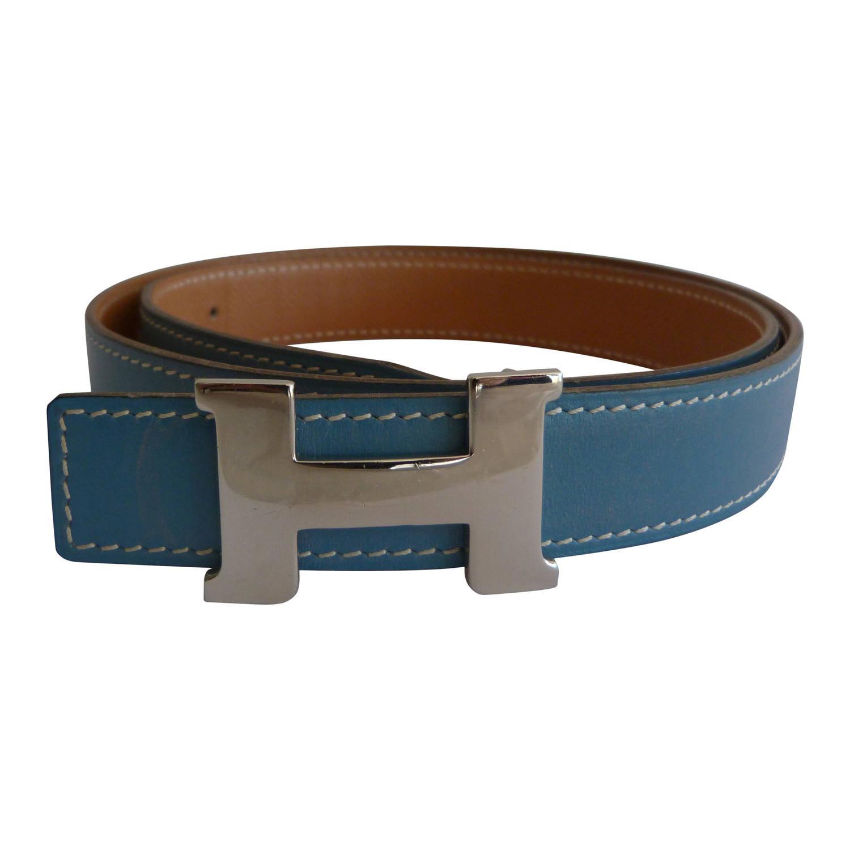 herm 232 s blue leather belt at 1stdibs