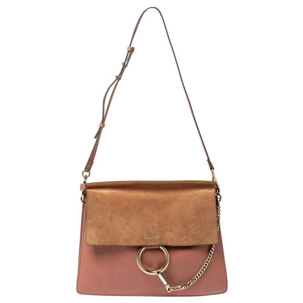 Chloe Pink/Beige Leather and Suede Medium Faye Shoulder Bag