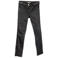 GIVENCHY black leather ZIPPER TRIM Skinny Leg Pants 38 S
