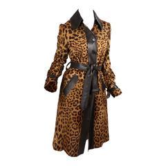 Dolce & Gabbana Leopard Print Pony skin Coat - Size 40