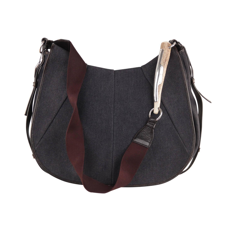 YVES SAINT LAURENT Denim Canvas LARGE MOMBASA Flap Shoulder Bag ...