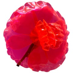 Chanel Fluorescent Pink Camellia Flower Brooch
