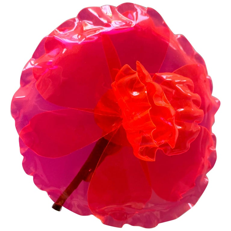Chanel Fluorescent Pink Camellia Flower Brooch   For Sale