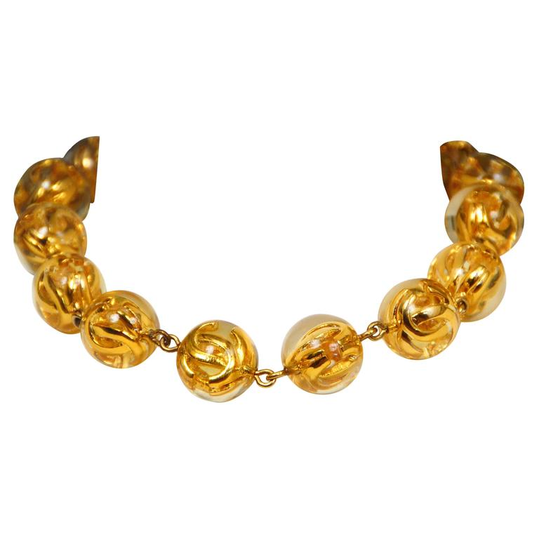 Chanel Gold Bauble Choker  For Sale