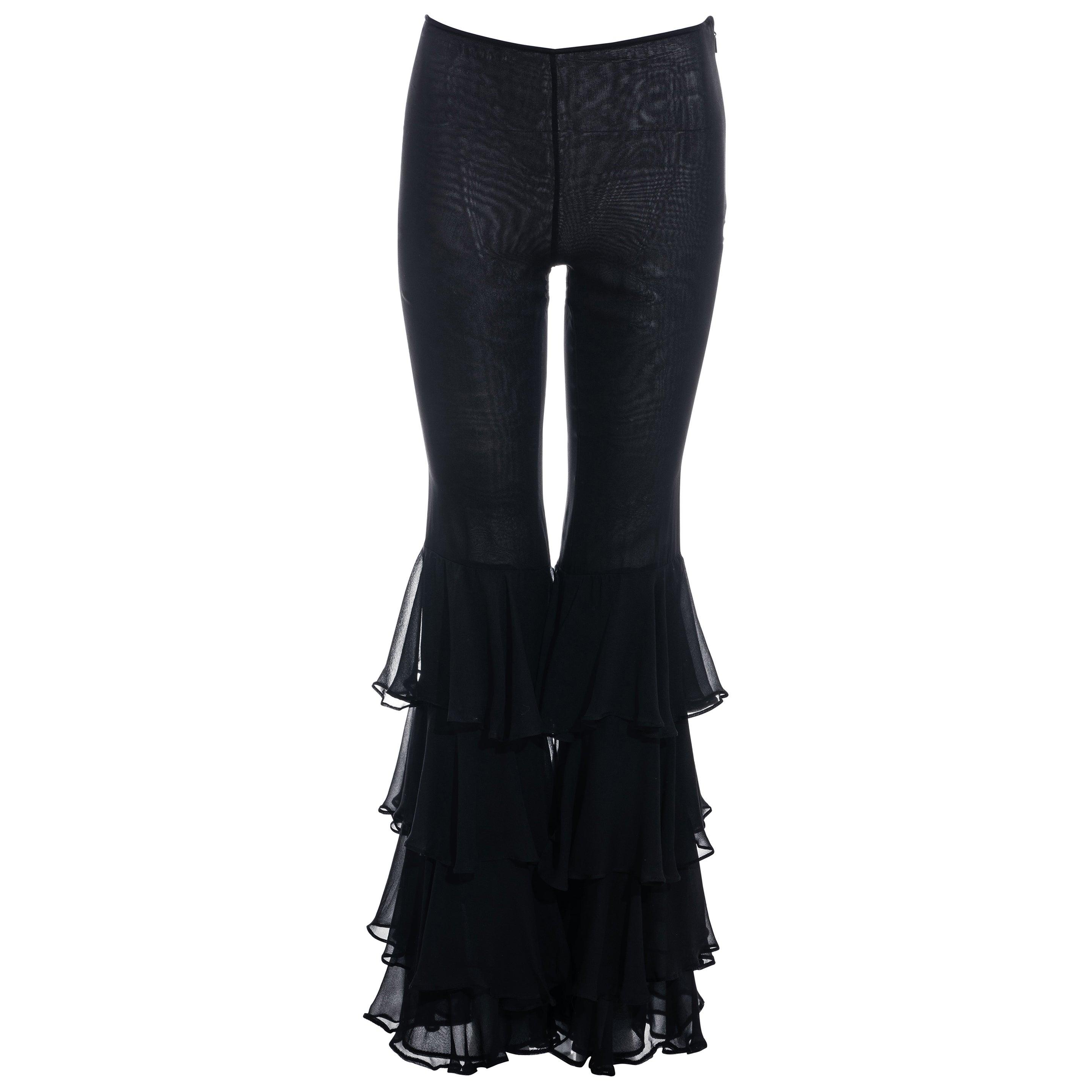 Gucci by Tom Ford black silk chiffon ruffled evening pants, fw 1999