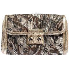 Louis Vuitton Silver Monogram Brocade and Karung Trim Thalie Clutch Bag