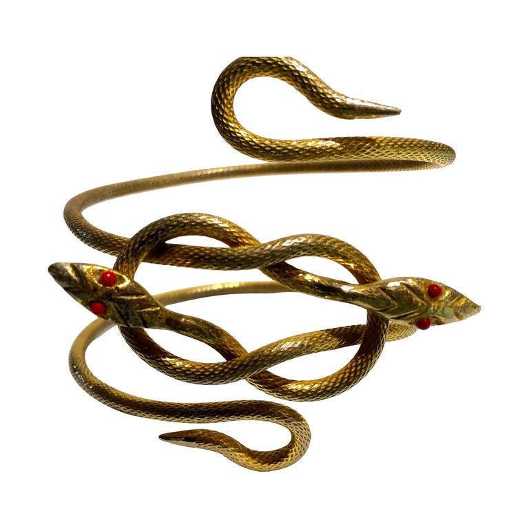 Unusually striking 1920s gilt metal double snake armlet 1