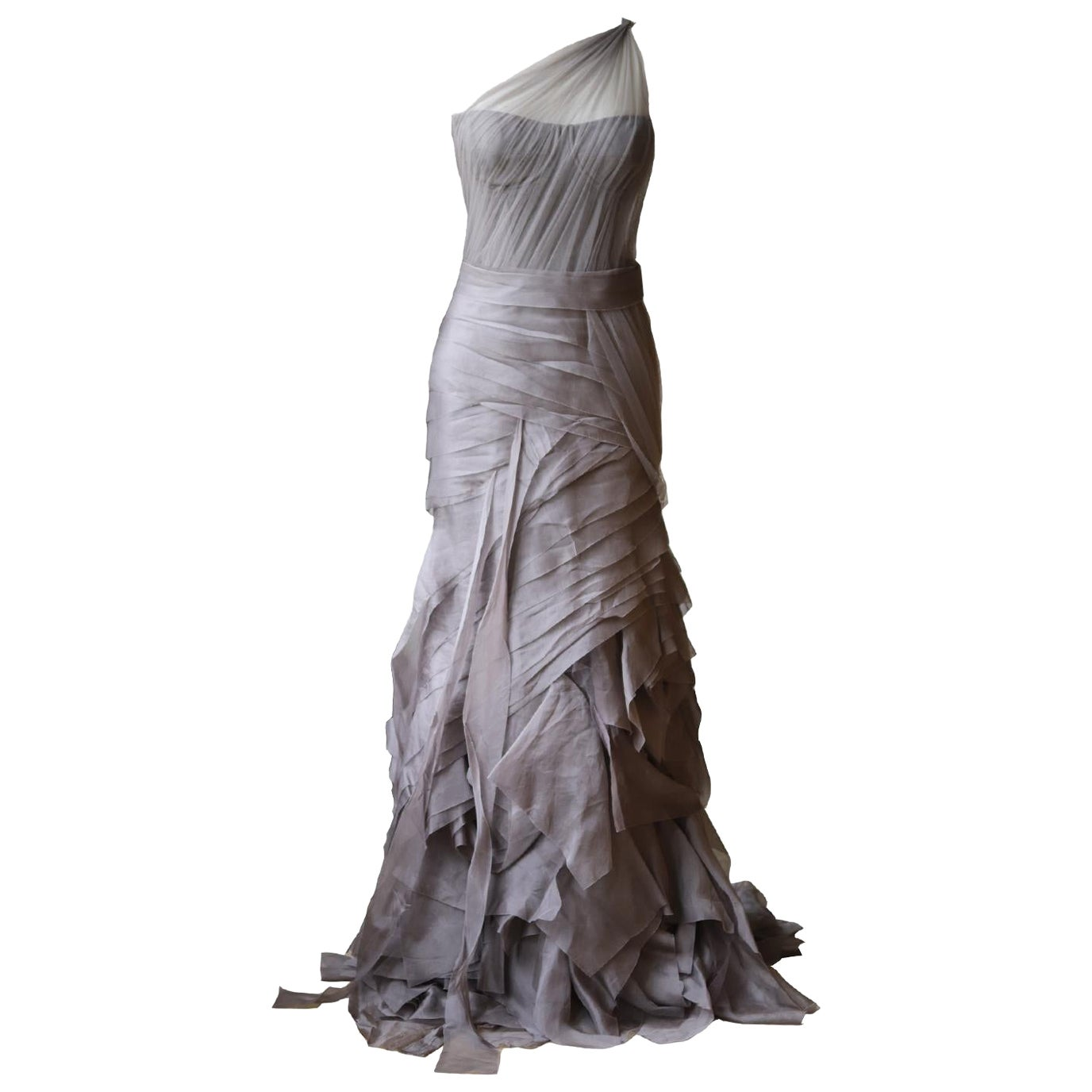 Vera Wang One Shoulder Tiered Silk Organza Gown