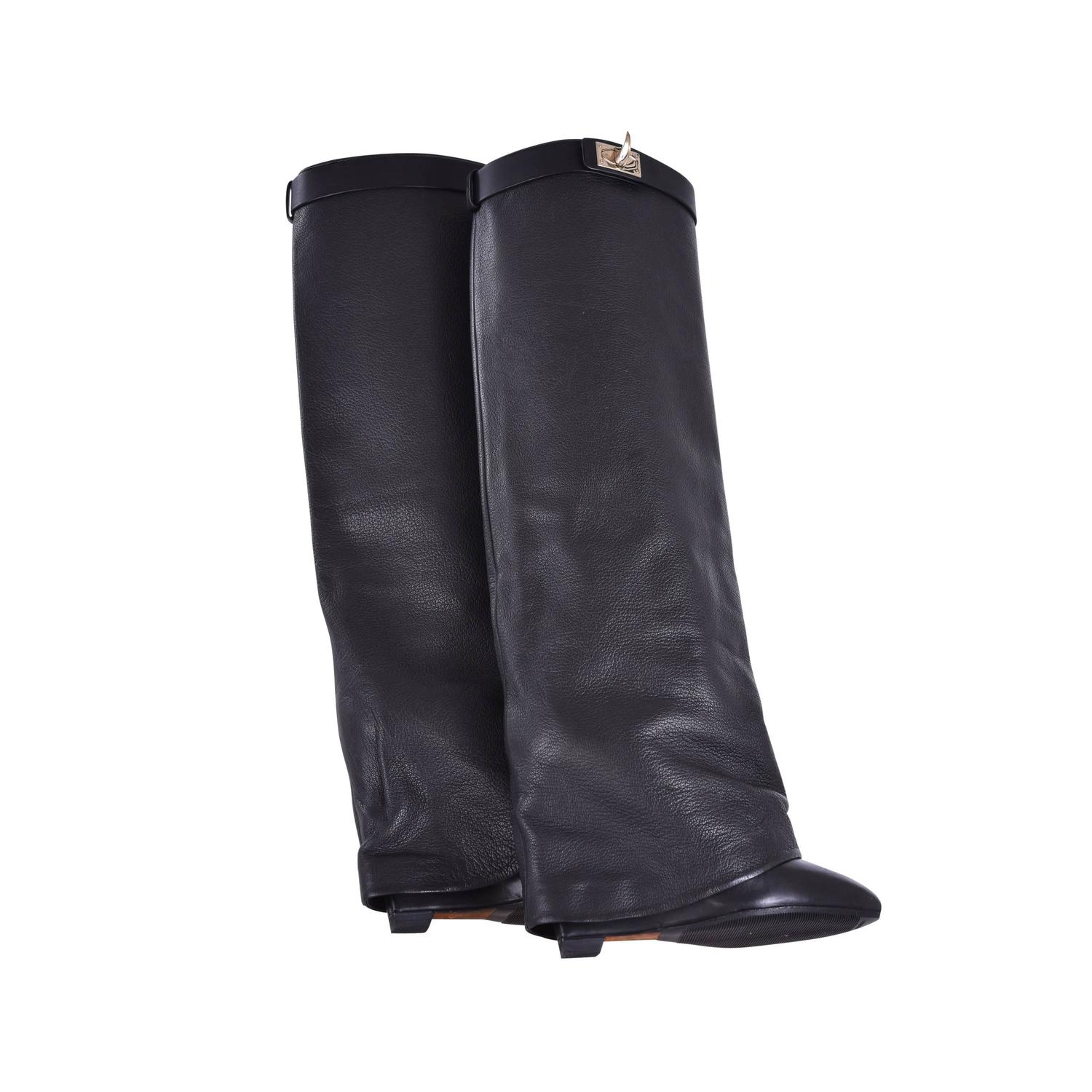 givenchy shark lock leather boots 2k janefinds at 1stdibs