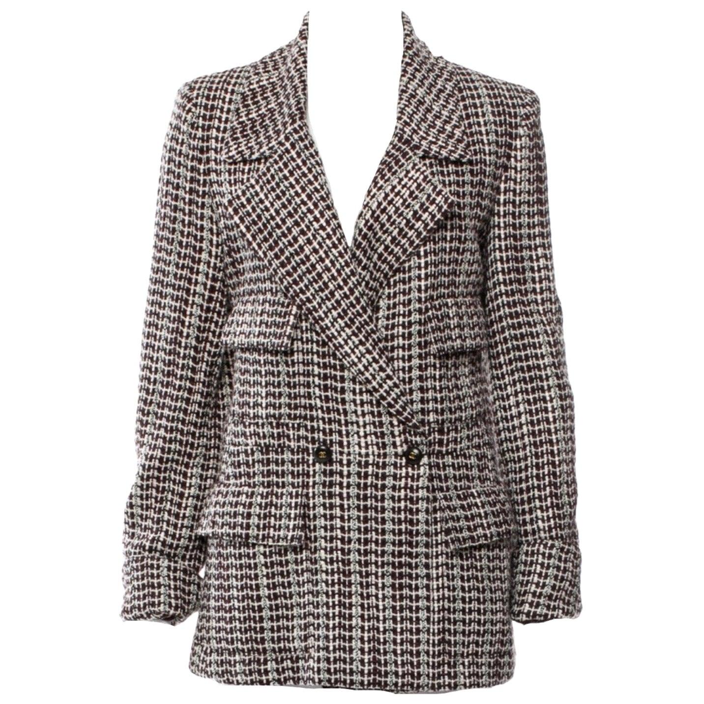 UNWORN Chanel Tweed & Sequins CC Logo Button Short Coat Jacket Blazer
