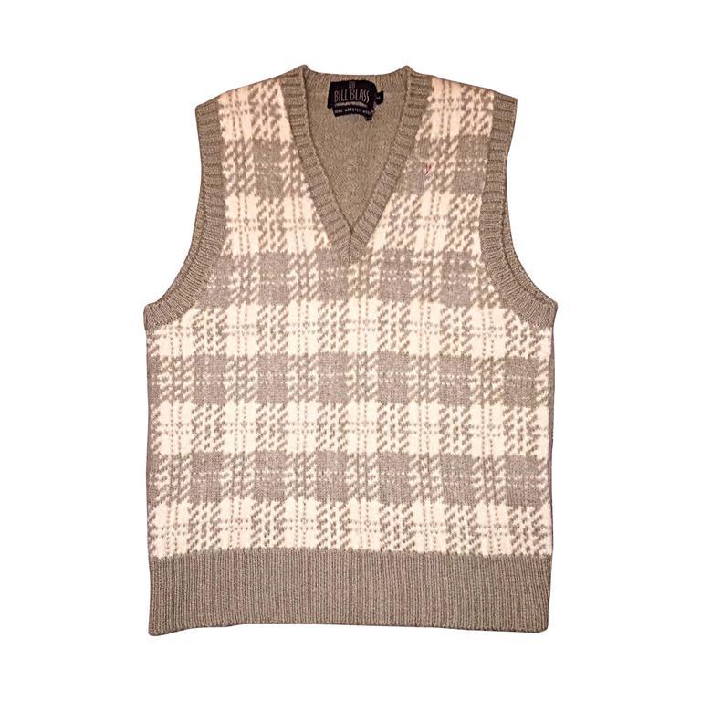 Vintage 1970s Bill Blass Tan + Ivory Plaid Mohair Wool Sweater Vest / Jumper 1