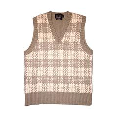 Vintage 1970s Bill Blass Tan + Ivory Plaid Mohair Wool Sweater Vest / Jumper