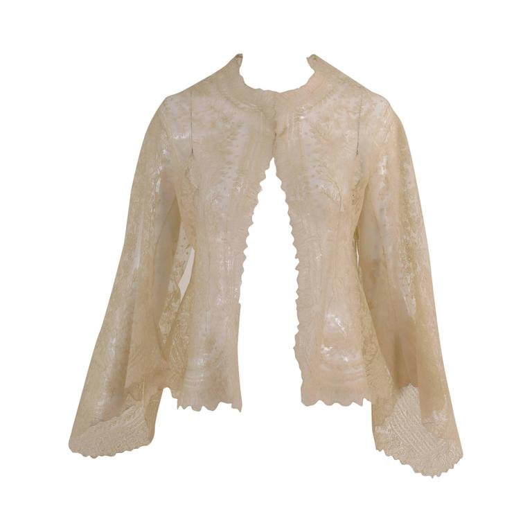 Blond Chantilly lace open front jacket wedding finery handmade 1860s 1