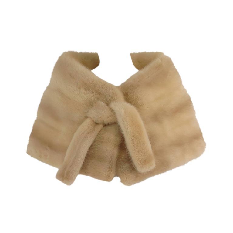 Gunther Jaeckel furs  Bonwit Teller champagne mink tie front cape 1960s 1