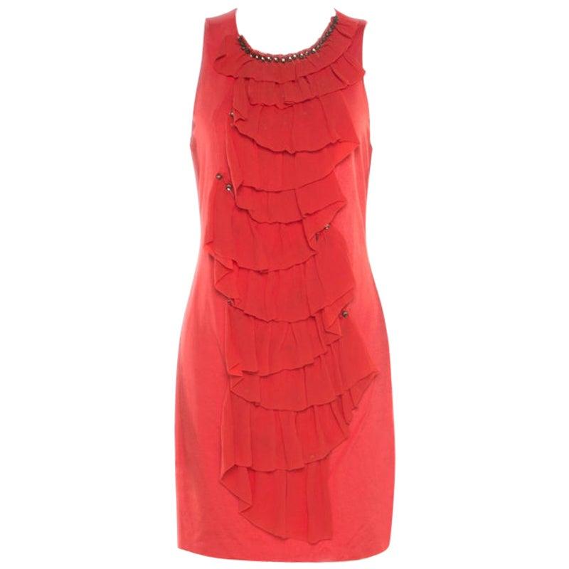 3.1 Phillip Lim Orange Stretch Knit Chiffon Ruffled Sleeveless Dress M