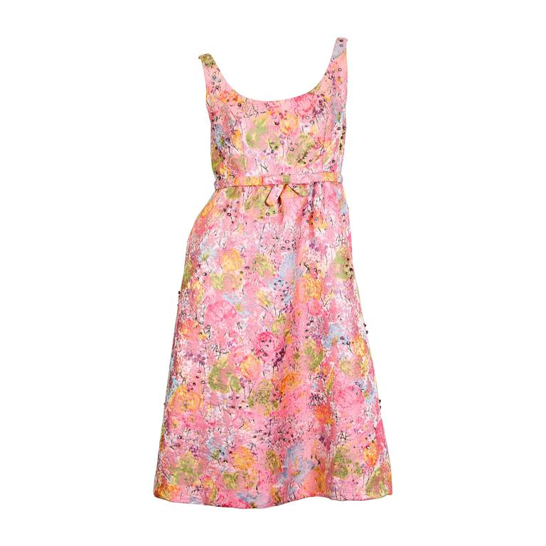 1960s Watercolour Damask Dress with Crystals