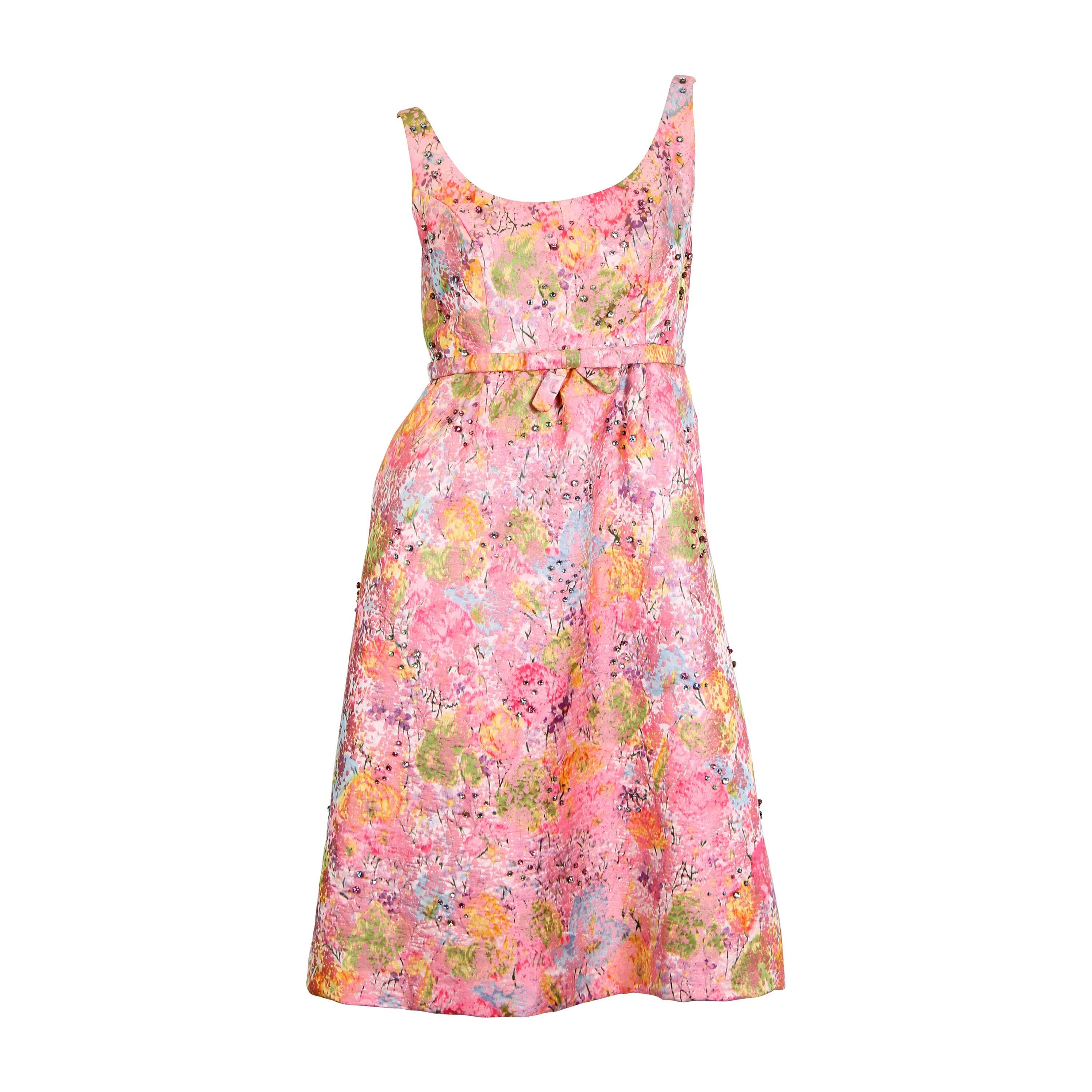 1960 Pink Silk Watercolor Floral Damask Cocktail Dress With Crystals