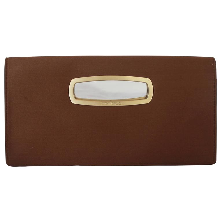 Jimmy Choo Brown Satin Clutch with Gold Cutout Handle  1
